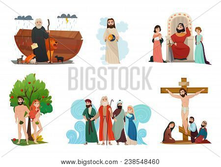 Bible Narratives Stylized Compositions Set With Noah Ark Forbidden Fruit Moses Story And Crucifixion