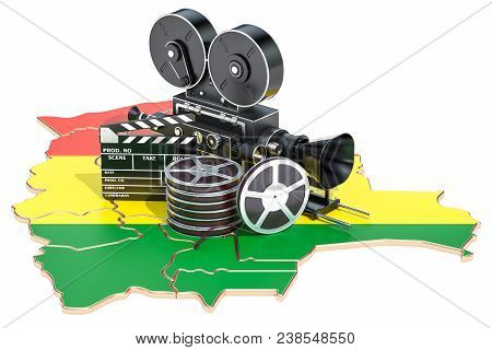 Bolivian Cinematography, Film Industry Concept. 3d Rendering Isolated On White Background