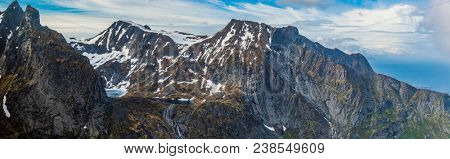 Panoramic Shot Of Beautiful Panoramic Scene, Mountain and Fjord, Lofoten Island, Norway