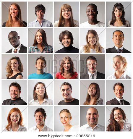 Zusammensetzung der lächelnde Menschen