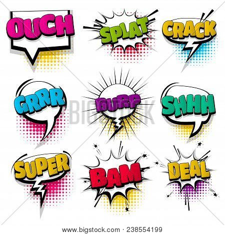 Ouch Super Shh Bam Set Hand Drawn Pictures Effects Template Comics Speech Bubble Halftone Dot Backgr