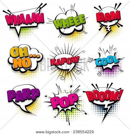Whee Cool Kapow Pop Set Hand Drawn Pictures Effects Template Comics Speech Bubble Halftone Dot Backg