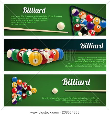 Billiards Sport Game Banner Set For Snooker And Pool Billiard Design. Green Billiard Table With Ball