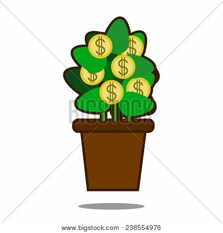 Money Tree With Golden Coins. Tree In Pot. Vector Illustration Isolated On White Background. Web Sit