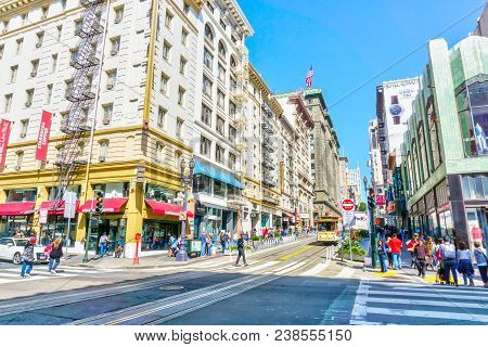 San Francisco - Apr 2, 2018: A Crowded Street On Powell In Heart Of Downtown San Francisco Where Sho