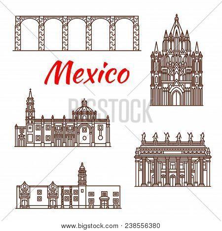 Travel Landmark Of Mexico Icon Set Of Famous Mexican Architecture. Aqueduct Of Padre Tembleque, Juar