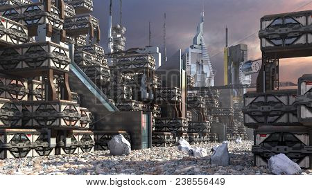 3D Illustration of a futuristic settlement, with a modular, technologic architecture on a rocky terrain, for fantasy or science fiction architectural backgrounds poster