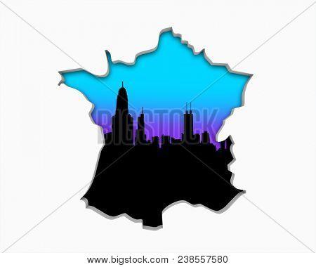 France FR Skyline City Metropolitan Area Nightlife 3d Illustration