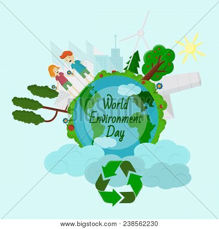 World Environment Day, Concept, Green Eco Earth, Vector Illustration Flat, Grass, Trees, Ecology, Sy