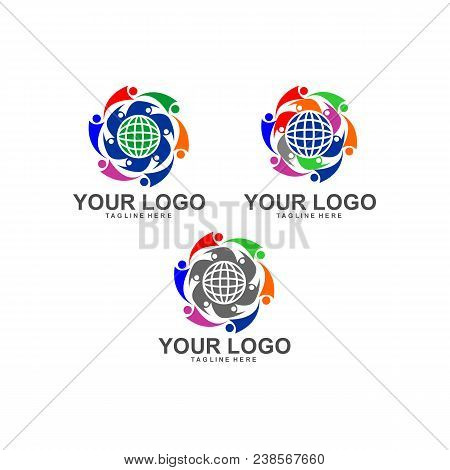 Concept For Colorful Community People Logo. Abstract People Community Logo Set