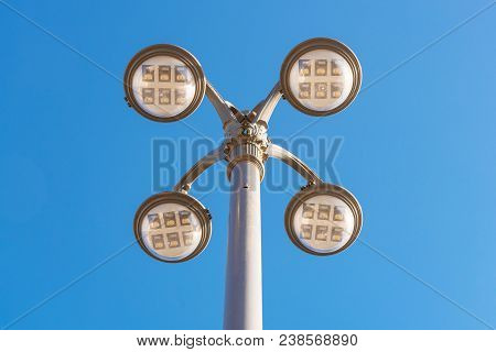 Led Lighting Pole New Technoly Of Lighting System With Blue Sky On Outdoor Street Walkway.