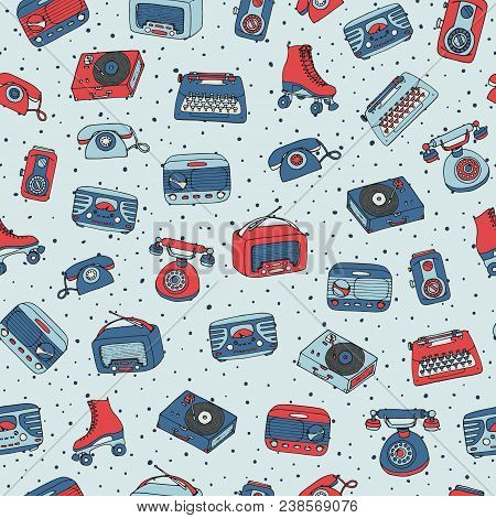 Vector Retro Seamless Pattern With Antique Tech, Radio, Typewriter, Roller Skates And Vinyl Record P