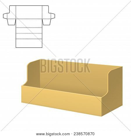 Vector Illustration Of Diecut Craft Box For Design, Website, Background, Banner. Retail Folding Pack