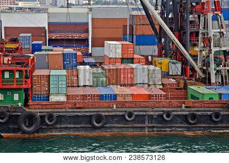 Stock Photo Of Shipping Containers On Board Lighters At A Container Terminal On Victoria Harbour Hon