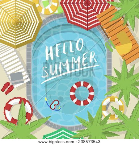 Hello Summer Banner With Water Pool. Summer Time Concept, Family Beach Vacation Vector Illustration.