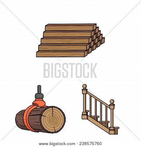 Sawmill And Timber Cartoon Icons In Set Collection For Design. Hardware And Tools Vector Symbol Stoc