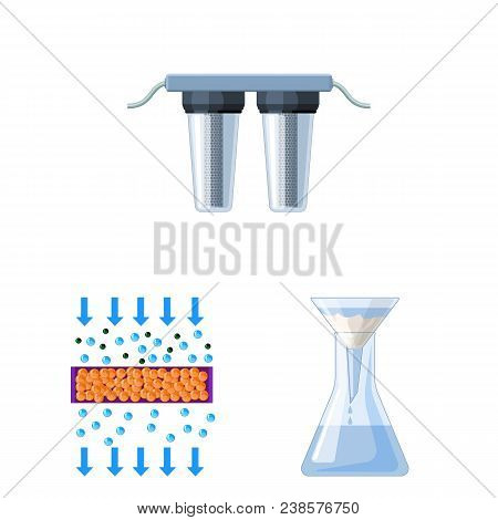 Water Filtration System Cartoon Icons In Set Collection For Design. Cleaning Equipment Vector Symbol