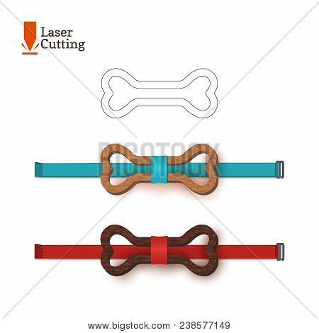 Laser Cut Bow-tie Template Whith Bone Symbol. Vector Silhouette For Cutting A Bow Tie On A Lathe Mad