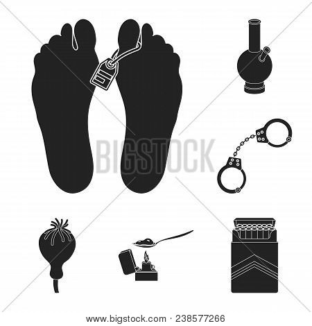 Drug Addiction And Attributes Black Icons In Set Collection For Design. Addict And Drug Vector Symbo