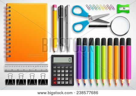 School Supplies Vector Set With Color Pencils Notebook, Pens And Office Supplies In White Background