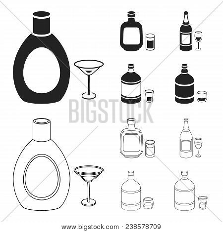 Liquor Chocolate, Champagne, Absinthe, Herbal Liqueur.alcohol Set Collection Icons In Black, Outline