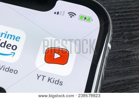Sankt-petersburg, Russia, April 27, 2018: Youtube Kids Application Icon On Apple Iphone X Smartphone
