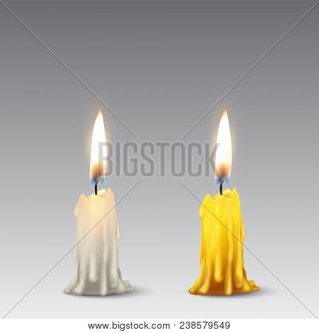 Vector 3d realistic white and orange paraffin or wax burning party candle or candle stump icon set closeup isolated. Design template, clipart for graphics. poster