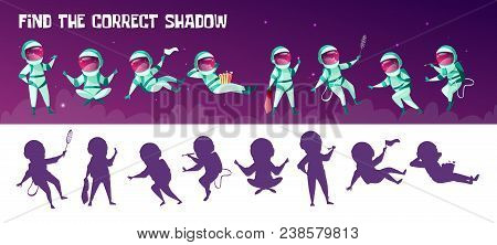 Vector Find The Correct Shadow Education Children Game. Correct Silhouette Matching Test For Prescho