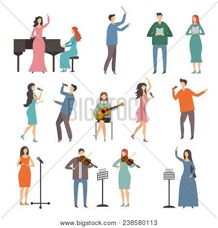 Musician Persons In Different Music Duets. Vector Characters Of Singers. Illustration Of Music Singe