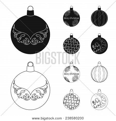 New Year Toys Black, Outline Icons In Set Collection For Design.christmas Balls For A Tree Vector Sy
