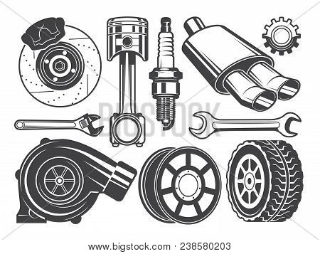 Monochrome Pictures Of Engine, Turbocharger Cylinder And Other Automobile Tools. Automobile Engine,