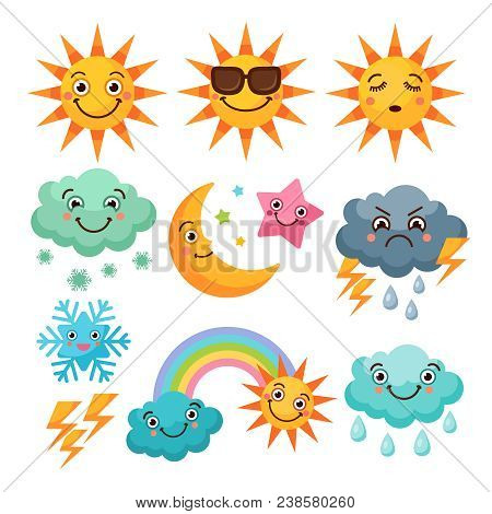 Cartoon Weather Icons Set. Funny Pictures Isolate On White Background. Illustration Of Weather Sunny
