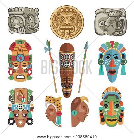 Mayan Antique Symbols And Pictures. Ancient Mayan Or Aztec Symbol, Tribal Antique Mask And Tradition