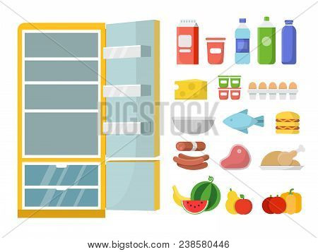 Empty Refrigerator And Different Food. Vector Flat Illustrations. Refrigerator And Food Fresh, Milk