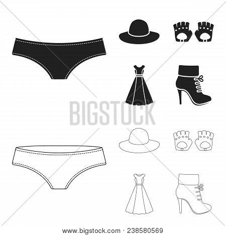 Panties, Gloves, Dress, Hat. Clothing Set Collection Icons In Black, Outline Style Vector Symbol Sto