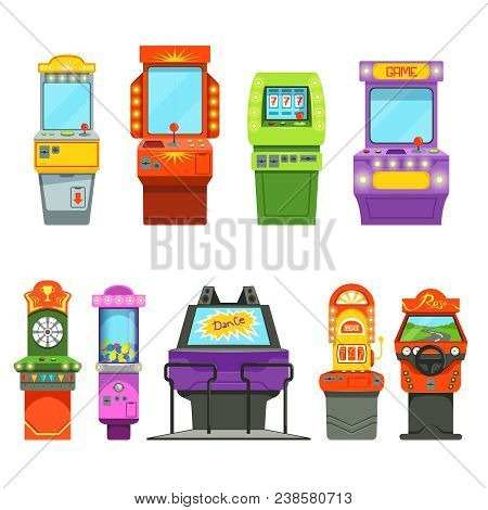 Vector colored illustrations of games machines. Driving simulator and different arcade games in amusement park. Game arcade machine, joystick simulator, controller virtual, screen poster