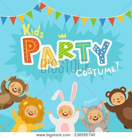 Kids Party Invitation With Illustrations Of Happy Childrens In Carnival Costumes Of Animals. Vector