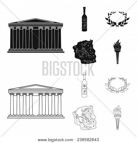 Greece, Country, Tradition, Landmark .greece Set Collection Icons In Black, Outline Style Vector Sym