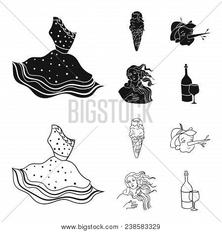 Italian Dress, Gelato, Pinocchio, Goddess Of Love. Italy Set Collection Icons In Black, Outline Styl