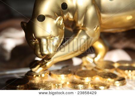 Golden Jaguar Figurine