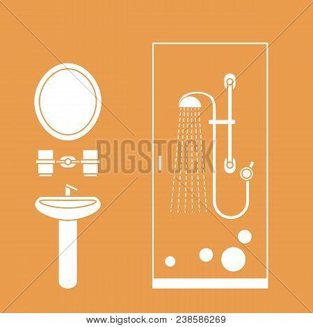 Cute Vector Illustration Of Bathroom Interior Design: Shower Cabin, Washbasin, Mirror And Other. Des