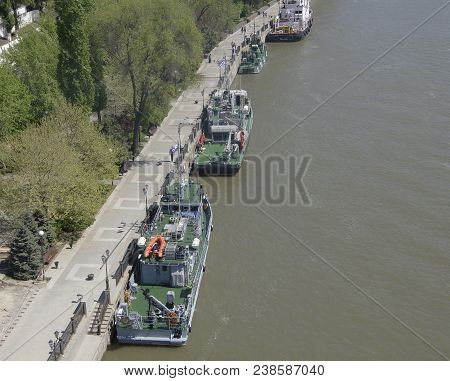 Rostov-on-don,russia - April 30,2018: The Warships That Arrived At The Parade In Honor Of The Centur