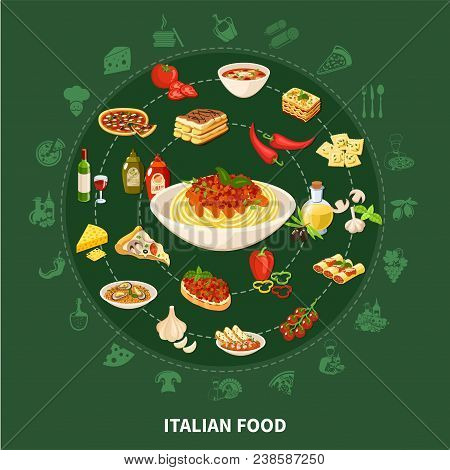 Italian Cuisine Round Set Of Popular Dishes With Stuffed Cannelloni Minestrone Soup Pasta With Musse