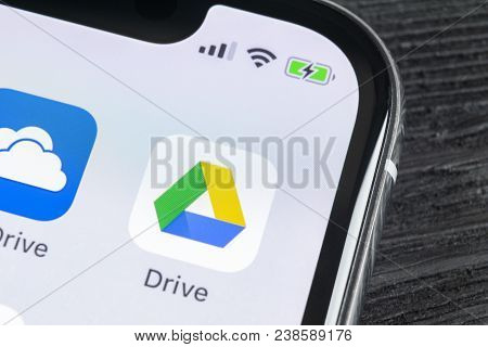 Sankt-petersburg, Russia, April 27, 2018: Google Drive Application Icon On Apple Iphone X Screen Clo