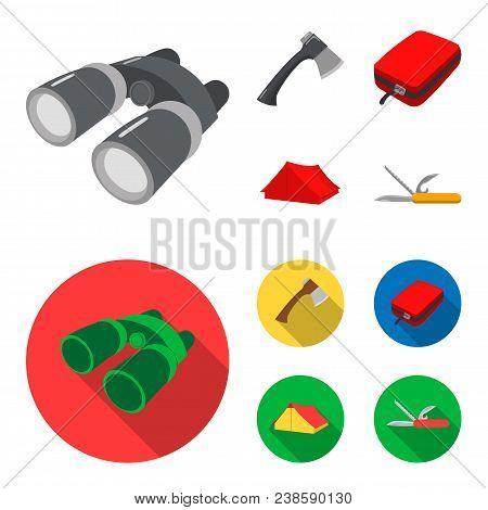 Ax, First-aid Kit, Tourist Tent, Folding Knife. Camping Set Collection Icons In Cartoon, Flat Style