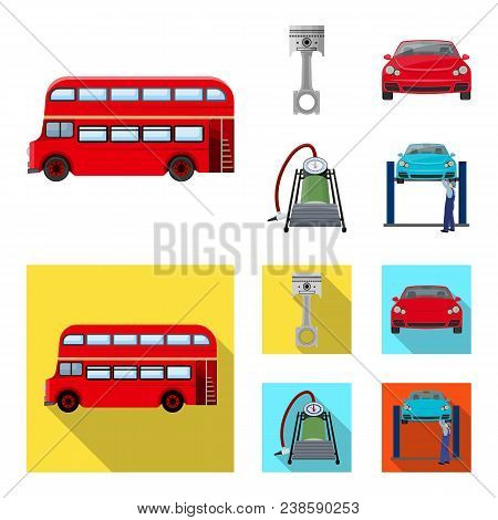 Car On Lift, Piston And Pump Cartoon, Flat Icons In Set Collection For Design.car Maintenance Statio