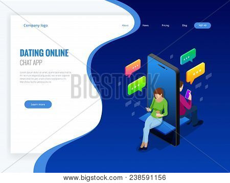 Isometric Online Dating And Social Networking Concept. Teenagers Addiction To New Technology Trends.