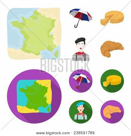 Umbrella, Traditional, Cheese, Mime .france Country Set Collection Icons In Cartoon, Flat Style Vect