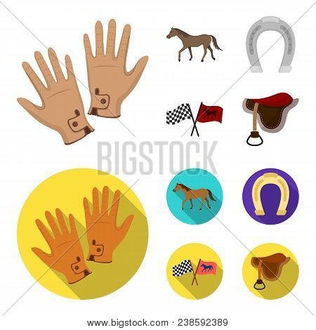 Race, Track, Horse, Animal .hippodrome And Horse Set Collection Icons In Cartoon, Flat Style Vector