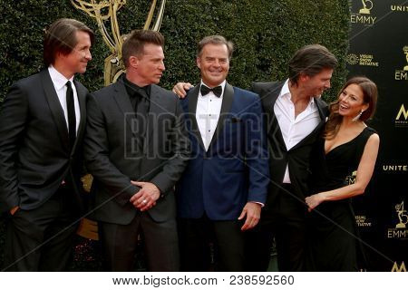 LOS ANGELES - APR 29:  Michael Easton, Steve Burton, Wally Kurth, Greg Vaughn, Tamara Braun at the 45th Daytime Emmy Awards at the Pasadena Civic Auditorium on April 29, 2018 in Pasadena, CA